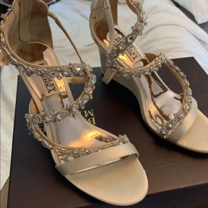 Badgley Mischka Bennet Ivory Satin Bridal Wedges